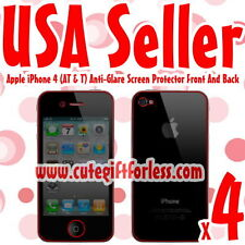 4x Anti Glare Full Body Screen Protector Apple iPhone 4