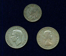CANADA GEORGE VI 1950 & ELIZABETH II 1953  50 CENTS SILVER COINS + 1929 25 CENTS