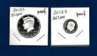 2012 S PROOF 90% Silver  Kennedy Half Dollar AND 90% Silver Dime Set - 2 Coins