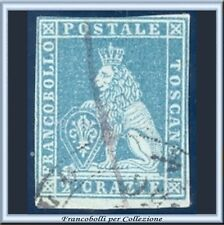ASI 1851 Toscana 2 crazie azzurro chiaro su grigio n. 5 Usato Antichi Stati [B]