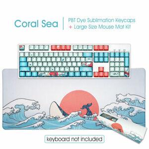 104 Coral Sea PBT OEM Keycaps Set + Large Gaming Mouse Pad Mat Xmas Gift Box Kit