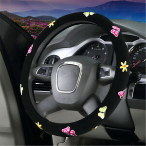 38cm Butterfly Flower Embroidery Car Steering Wheel Cover Interior Accessories