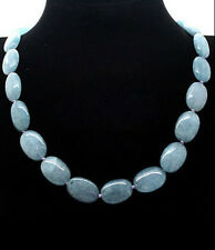 Pretty! 13x18mm natural aquamarine Flat Oval Gemstone Beads Necklace 18 ""