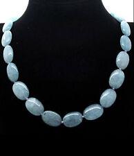 "Pretty! 13x18mm natural aquamarine Flat Oval Gemstone Beads Necklace 18 """