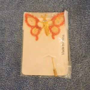 Hair Pin: Butterfly (Red and Gold)