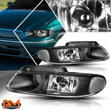 For 96-99 Caravan/Town&Country Projector Quad Lamps Headlight Clear Corner Black
