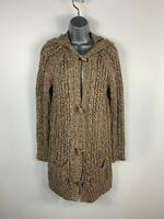 WOMENS SOUTH BROWN/WHITE LOOSE KNIT CASUAL LONG HOOD TOGGLE CARDIGAN TOP SIZE 10