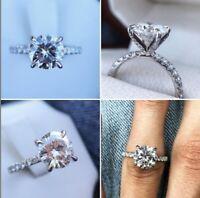 2.00CT Solitaire White Round Cut Diamond 14K White Gold Engagement Bridal Ring