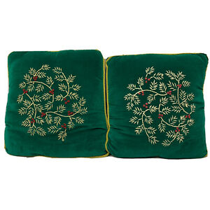 Bella Crafts Green Velvet Throw Pillows  Vintage Embroidery Christmas 14x14 Pair