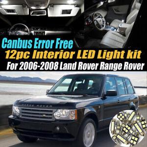 12Pc Error Free Interior LED White Light Kit for 2006-08 Land Rover Range Rover