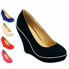 NEW LADIES SUEDE SHOES WITH GOLD TRIM SIZE 3 4 5 6 7 8 HIGH HEELS 4.5 INCH