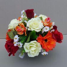 Artificial Flower Arrangement Roses&Gerberas In Pot For Grave/Memorial Vase O/R