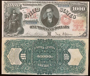 Reproduction Copy $1,000 1878 US Note Paper Money Currency  Legal Tender