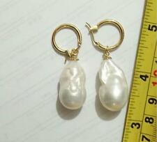 COCO REAL HUGE 14x22mm SOUTH SEA WHITE BAROQUE PEARL Earrings
