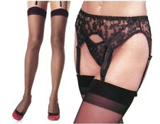 Black Lace Garterbelt + Matchng Thong + Sheer Stockings Reg Leg Avenue 8888 1001