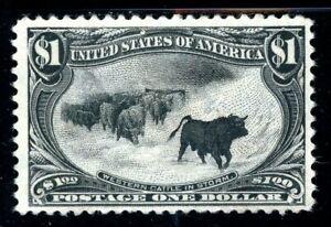 USAstamps Unused FVF US 1898 $1 Trans-Mississippi Western Cattle Sct 292 OG MHR