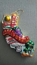 New California State Shaped 3D Glass Blown Christmas Ornament Vacation Hollywood