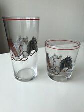 VTG EQUESTRIAN BEVERAGE HORSE TUMBLER & ON THE ROCKS DRINKING GLASS PLUS 2 FREE
