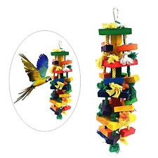 New listing Bird Chewing Toy Colorful Funny Wood Blocks Rope Knot Cage Toys Pet Supplies