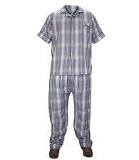 Mens 2 Pieces Woven Check Pyjama Set Lounge Wear Nightwear Top & Bottom L Grey