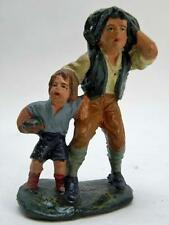PRESEPE papà bambino gerla fieno vecchia statuina cartapesta PRESEPIO 7,5 cm