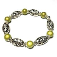 NEW Green Miracle/Illusion Bead Stretch Bracelet Tibetan Silver Style UK MADE