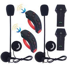 2pcs Bluetooth Motorcycle Helmet Intercom Headset 1km Dual Kit w/ Remote Control