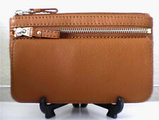 Fossil Molly Tan Brown Pebbled Leather Bifold Clutch Snap Zipper Wallet Purse