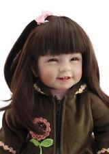 22'' Reborn Baby Girl Doll Lifelike Vinyl Baby Toy Long Hair Smile Kids Gift new