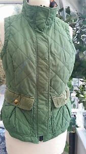 Ladies Joules Tom Joule Milham Green Quilted Gilet  Floral Lining - Has blemish