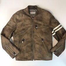 Wilson Leather M. Julian Men Motorcycle Biker Jacket Sz Large Distressed Quilted