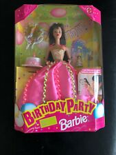 Barbie 1998 BIRTHDAY PARTY Brunette Doll Cake& Candle,Balloons,Favor NRFB