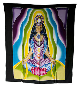 Batik Chakra Buddha Tara Yantra Mural Hanging Yoga Decor Black 41 5/16x37in