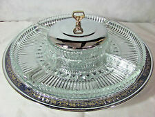 Kromex Lazy Susan Chrome/Glass Divided Relish/Appetizer Tray w/ Blue & Gold Band