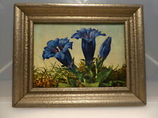 antik Bild als Öldruck Enzian Rahmen Holz silberfarben Stuck 18,7 x 14,7cm 143 g