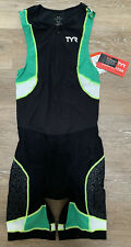 TYR Men's Small Black Green Yellow Triathlon Tri Suit Short John Front Zip New