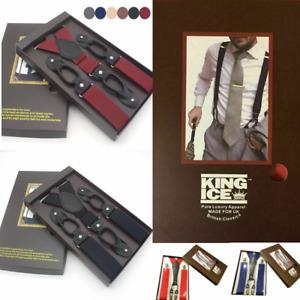 Mens Adjustable Heavy Duty Trouser Belt Suspender Elastic Metal Button Braces Uk