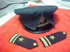 Pt WWII US Navy Officer's Visor Cap/Hat Bancroft Wicker Frame, Cover, 2 Epaulets