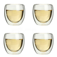 2/4/6 pcs X 80ML Double Wall Coffee Glass Mug Cups Insulate Office Tea Mug