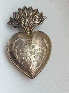 Joli Coeur de Marie argent massif Or Vermeil reliquaire Ex voto 19EME MARIA