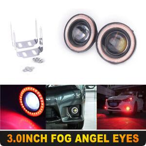 "2x 3"" inch LED Fog Light Round Red COB Angel Eyes Halo DRL Driving Car Truck"