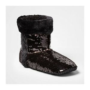 Flip Sequin Booties with Grippers Womens Size S/M NEW