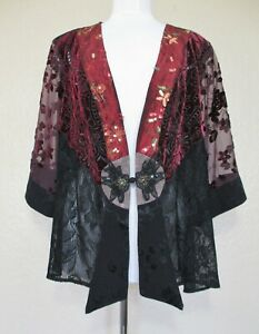 Spencer Alexis Jacket Size 2X Women black burgundy lace velvet chiffon