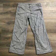 Women's Gap Blue Striped Hip Slung Fit Flared Leg Cotton Wide Trousers Size 6