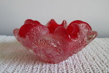 """Murano Art Glass Bowl Red Silver Flecks Cased in Clear Pinched 4 3/4"""" Italy"""