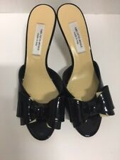 Saks Fifth Avenue Black Sandal Heels Vero Cuoio Patent Leather 9 Italy Women's