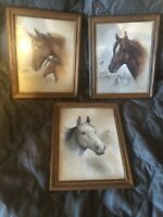 LOT OF 3 Vtg Horse Equine Racing Grey & Bay Horse Prints Ruane Manning Wall Art