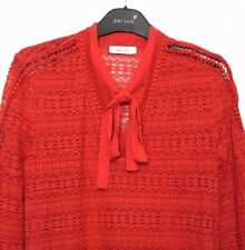 M&S Marks s8 Ladies PerUna Poppy Red Fine Lace Tie Neck Top Blouse +Cami BNWOT