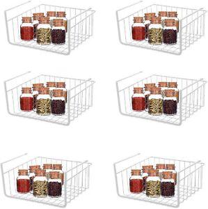 6Pack Under Shelf Baskets for Storage Carbon Steel Storage Under Cabinet Shelf