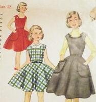 Girls Dress & Jumper Sewing Pattern 1950s Size 12 Retro Vintage Simple To Make
